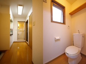 廊下とトイレです。トイレにも窓があり、換気も採光もバッチリです。